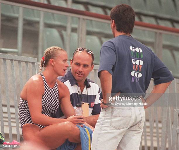 Lisa CurryKenny with her husband Grant Kenny at the Sydney International Aquatic Centre after missing out on selection for the Australian swimming...