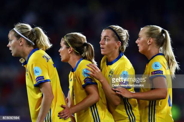 Lisa Dahlkvist Hanna Folkesson Linda Sembrant and Stina Blackstenius of Sweden get ready to attack a corner cross during the UEFA Women's Euro 2017...