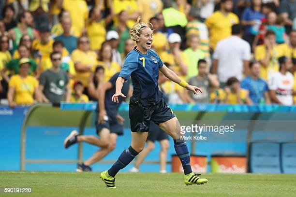Lisa Dahlkvist of Sweden celebrates victory in the Women's Football Semi Final between Brazil and Sweden on Day 11 of the Rio 2016 Olympic Games at...