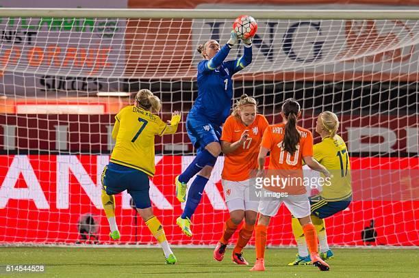 Lisa Dahlqvist of Sweden Goalkeeper Sari van Veenendaal of the Netherlands Kelly Zeeman of the Netherlands Danielle van de Donk of the Netherlands...