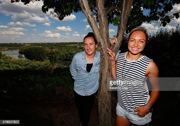 Lisa de Vanna and Kyah Simon of the Matildas pose at the Fairmont Hotel Macdonald on June 25 2015 in Edmonton Canada