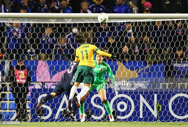 Lisa De Vanna of Australia heads the ball to score her team's first goal during the AFC Women's Olympic Final Qualification Round match between...