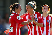 Lisa De Vanna of City is congratulated by Aivi Luik after scoring during the round three WLeague match between Perth Glory and Melbourne City FC at...