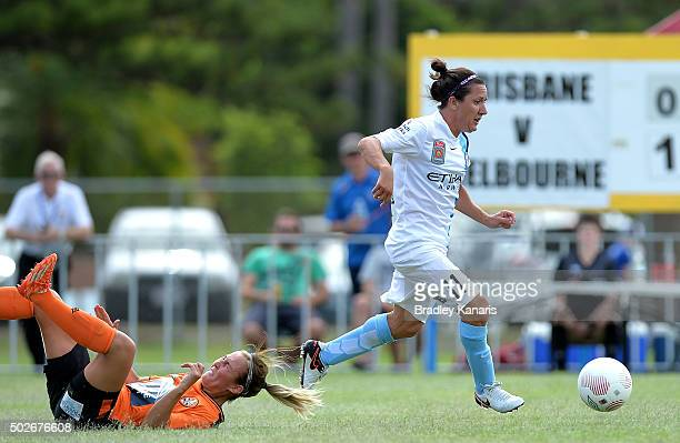 Lisa De Vanna of Melbourne City breaks away from the defence during the round 11 WLeague match between Brisbane Roar and Melbourne City FC at Perry...