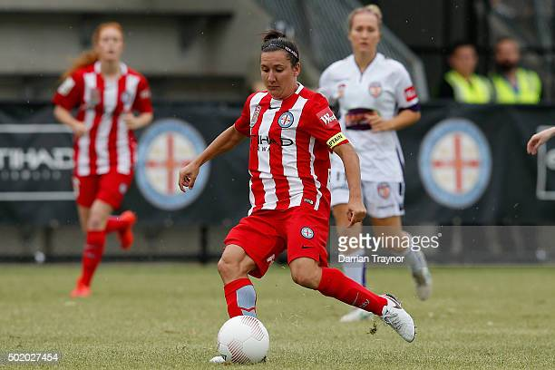 Lisa De Vanna of Melbourne City kicks the ball during the round 10 WLeague match between Melbourne City FC and Perth Glory at CBSmith Reserve on...
