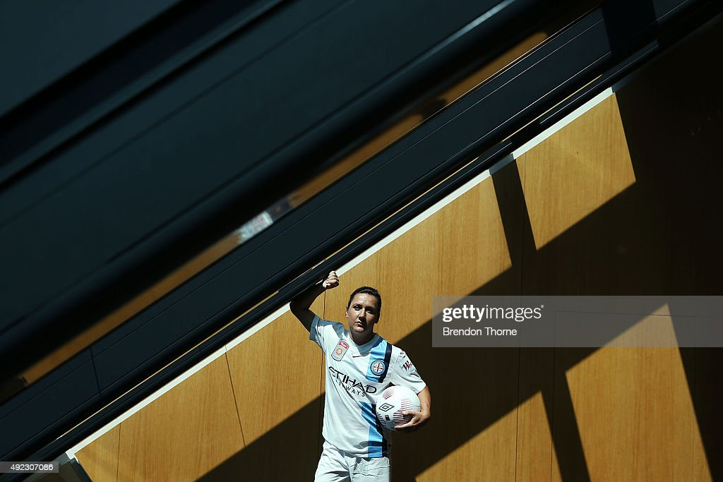 Lisa De Vanna of Melbourne City poses following the 2015/16 WLeague season launch at Westfield Towers on October 12 2015 in Sydney Australia