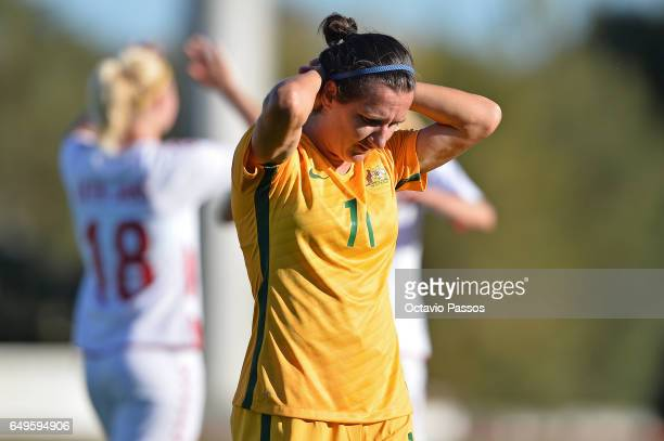 Lisa De Vanna of reacts after the game against Denmark at the end of the Women's Algarve Cup Tournament match between Australia and Denmark at...