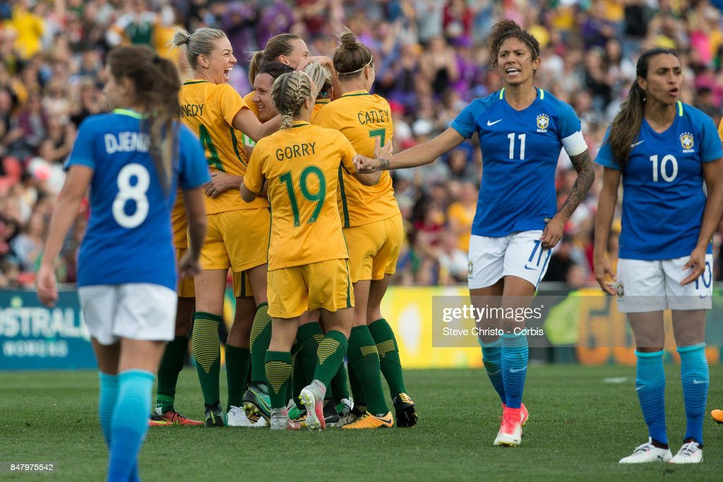 Lisa De Vanna of the Matildas celebrates scoring a goal during the women's international match between the Australian Matildas and Brazil at Pepper Stadium on September 16, 2017 in Sydney, Australia.