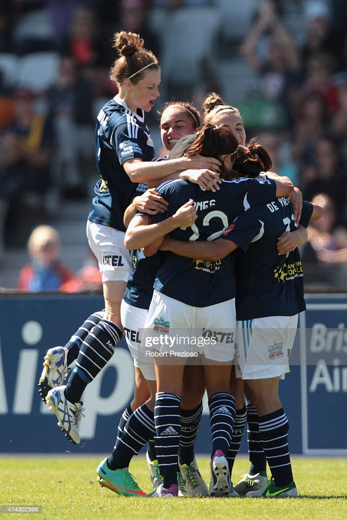 Lisa De Vanna of Victory celebrates with team-mates after scoring a goal during the W-League Grand Final match between the Melbourne Victory and the Brisbane Roar at Lakeside Stadium on February 23, 2014 in Melbourne, Australia.