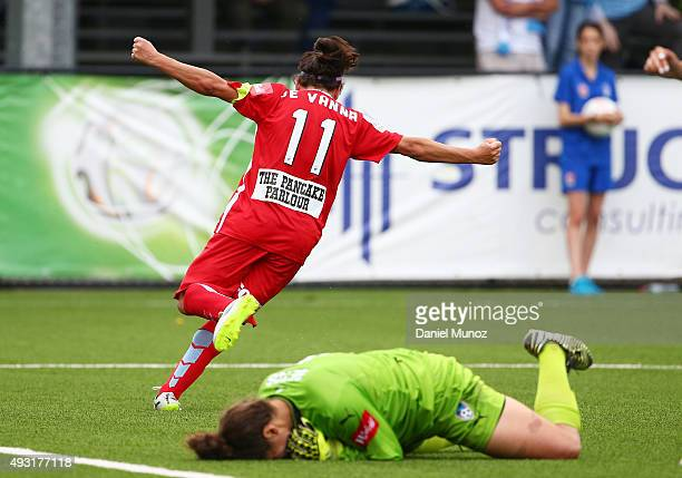 Lisa de Vanna reacts after scoring during the round one WLeague match between Sydney FC and Melbourne City FC at Lambert Park on October 18 2015 in...
