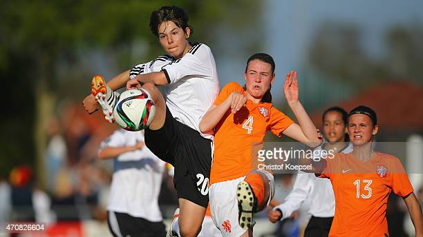 Lisa Doorn of Netherlands challenges Lena Sophie Oberdorf of Germany during the U15 girl's international friendly match between Germany and...