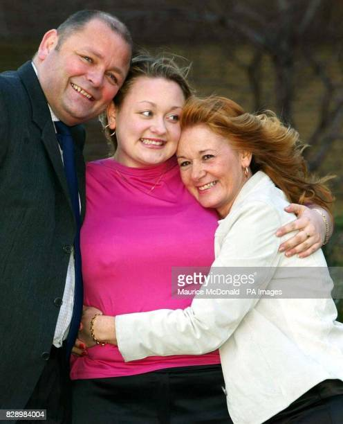 Lisa Dougan from Torphichen West Lothian celebrates with her parents Jim Dougan and Linda Marshall during a photocall at Glasgow's Hilton Hotel...