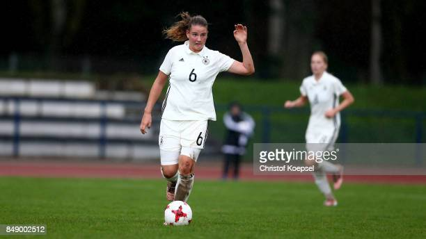 Lisa Ebert of Germany runs with the ball during the UEFA Under19 Women's Euro Qualifier match between Germany and Iceland at Stadium Wedau III on...