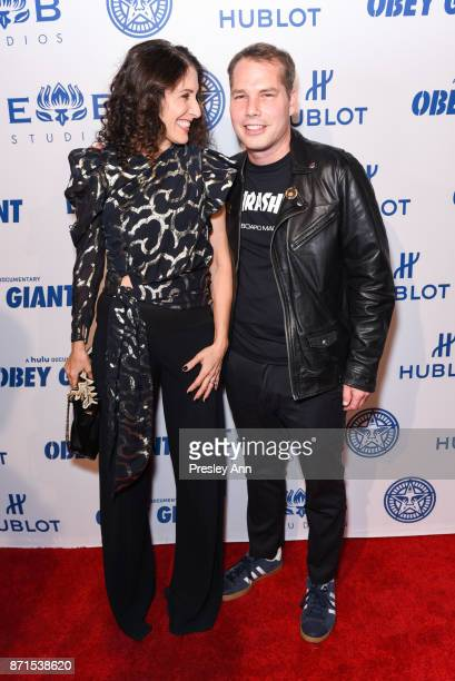 Lisa Edelstein and Shepard Fairey attend Photo Op For Hulu's 'Obey Giant' at The Theatre at Ace Hotel on November 7 2017 in Los Angeles California