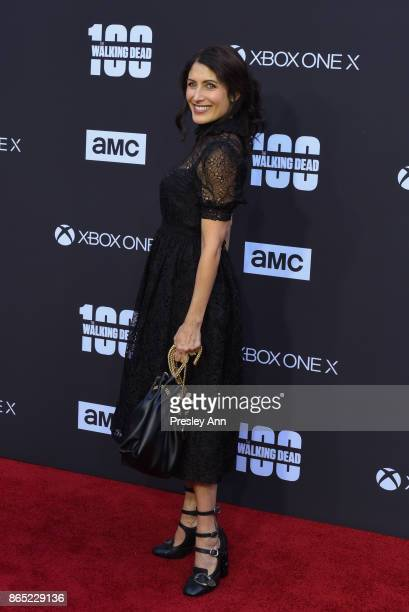 Lisa Edelstein attends AMC Celebrates The 100th Episode Of 'The Walking Dead' Arrivals at The Greek Theatre on October 22 2017 in Los Angeles...