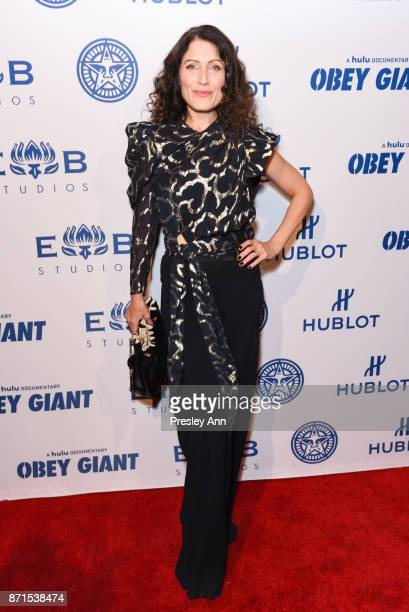 Lisa Edelstein attends Photo Op For Hulu's 'Obey Giant' at The Theatre at Ace Hotel on November 7 2017 in Los Angeles California