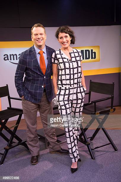 Lisa Edelstein on the set of IMDb Asks with host Brian Balthazar on December 1 2015 in New York City