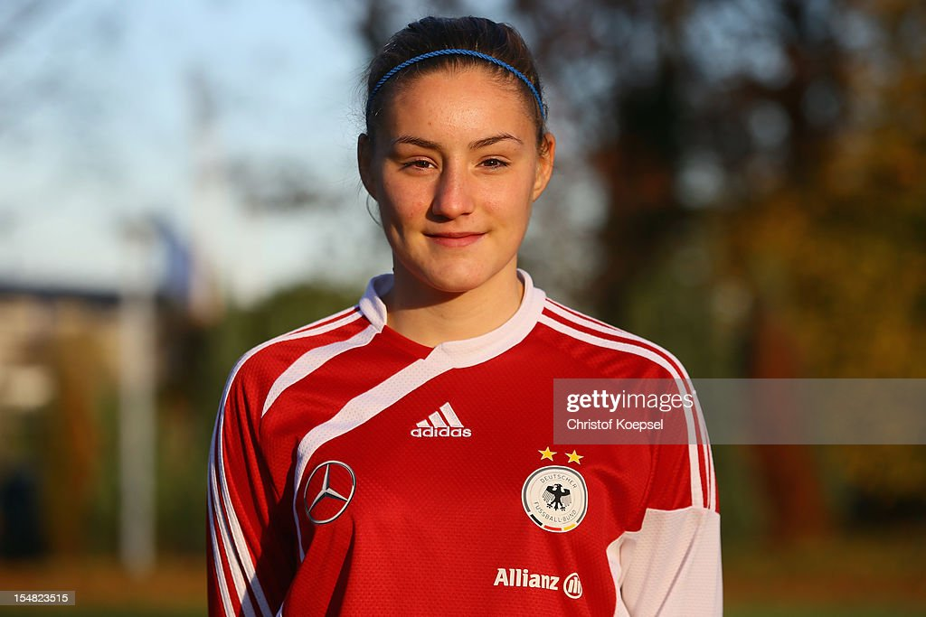 Lisa Eiberger poses during the Germany Women's U17 team presentation at Sport School Wedau on October 27, 2012 in Duisburg, Germany.