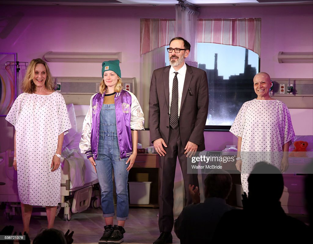 Lisa Emery Beth Behrs Erik Lochtefeld and Jacqueline Sydney during the opening night curtain call for 'A Funny Thing' at Lucille Lortel Theatre on...