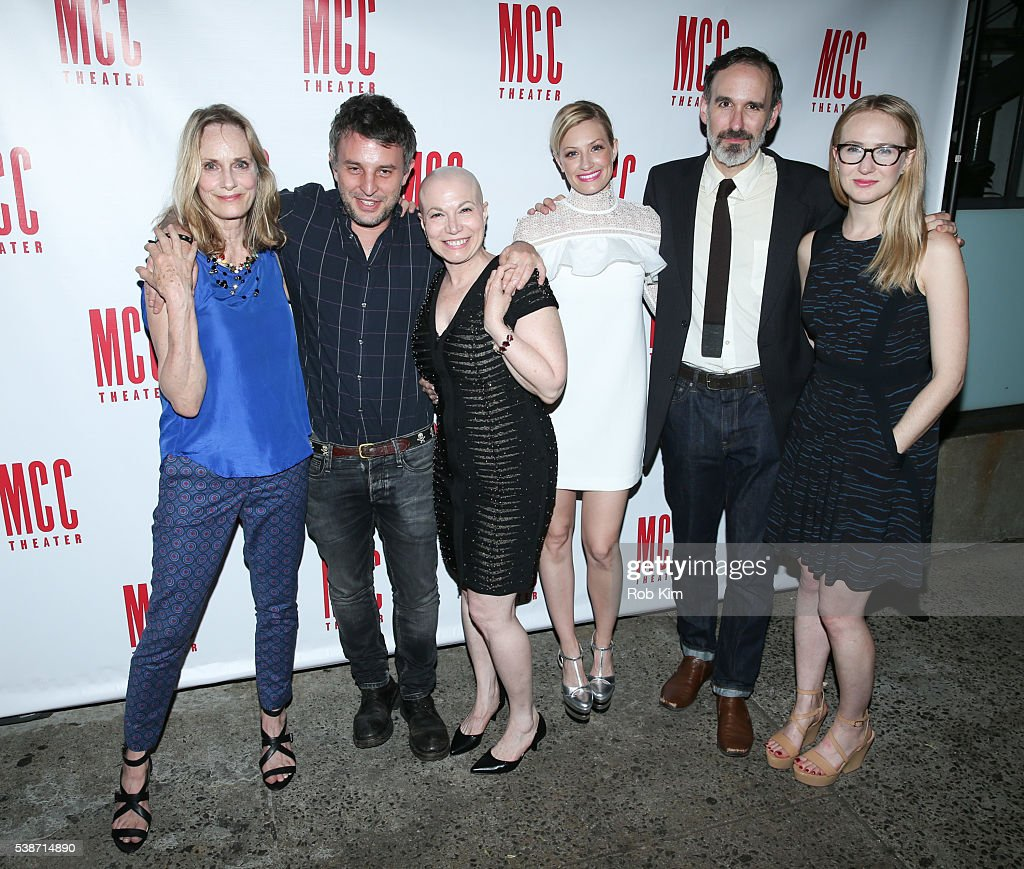 Lisa Emery, Trip Cullman, Jacqueline Sydney, Beth Behrs, Erik Lochtefeld and Halley Feiffer attend the opening night afterparty for 'A Funny Thing...' at SushiSamba 7 on June 7, 2016 in New York City.
