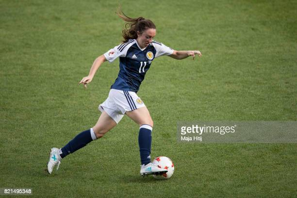 Lisa Evans of Scotland controls the ball during the UEFA Women's Euro 2017 Group D match between Scotland v Portugal at Sparta Stadion on July 23...