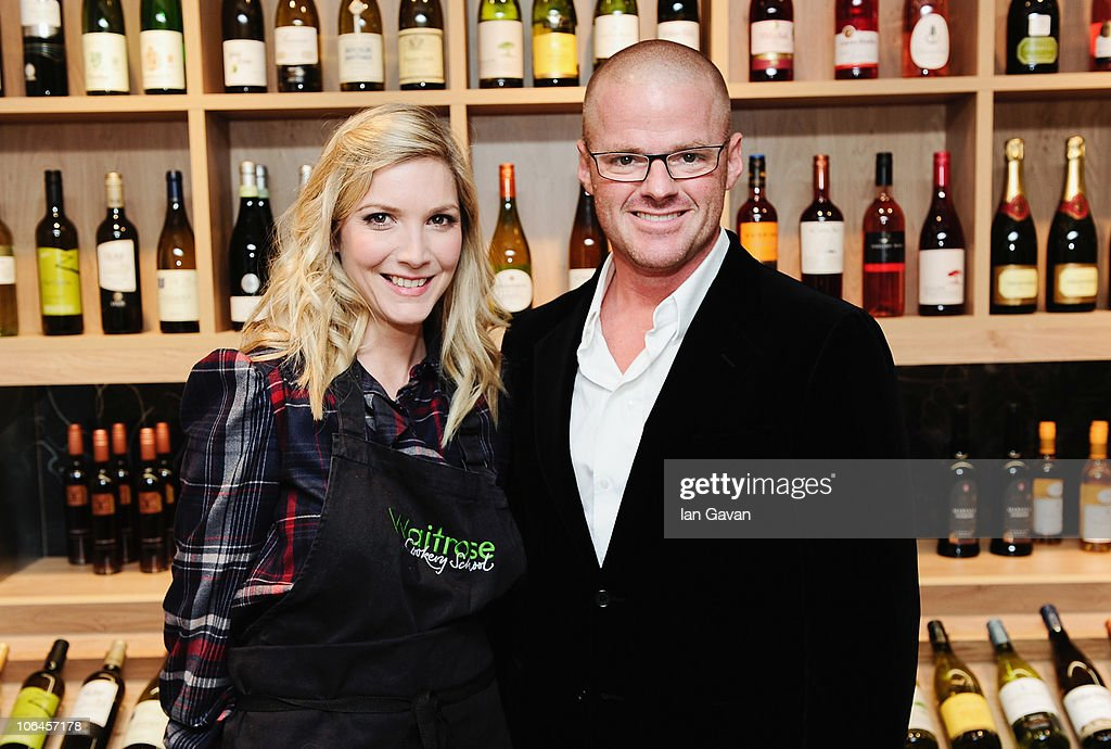 Lisa Faulkner and Heston Blumenthal attend the launch of Waitrose's First cookery School at Finchley Road on November 2 2010 in London England