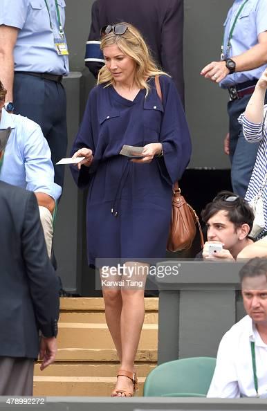 Lisa Faulkner attends the Philipp Kohlschreiber v Novak Djokovic match on day one of the Wimbledon Tennis Championships on June 29 2015 in London...