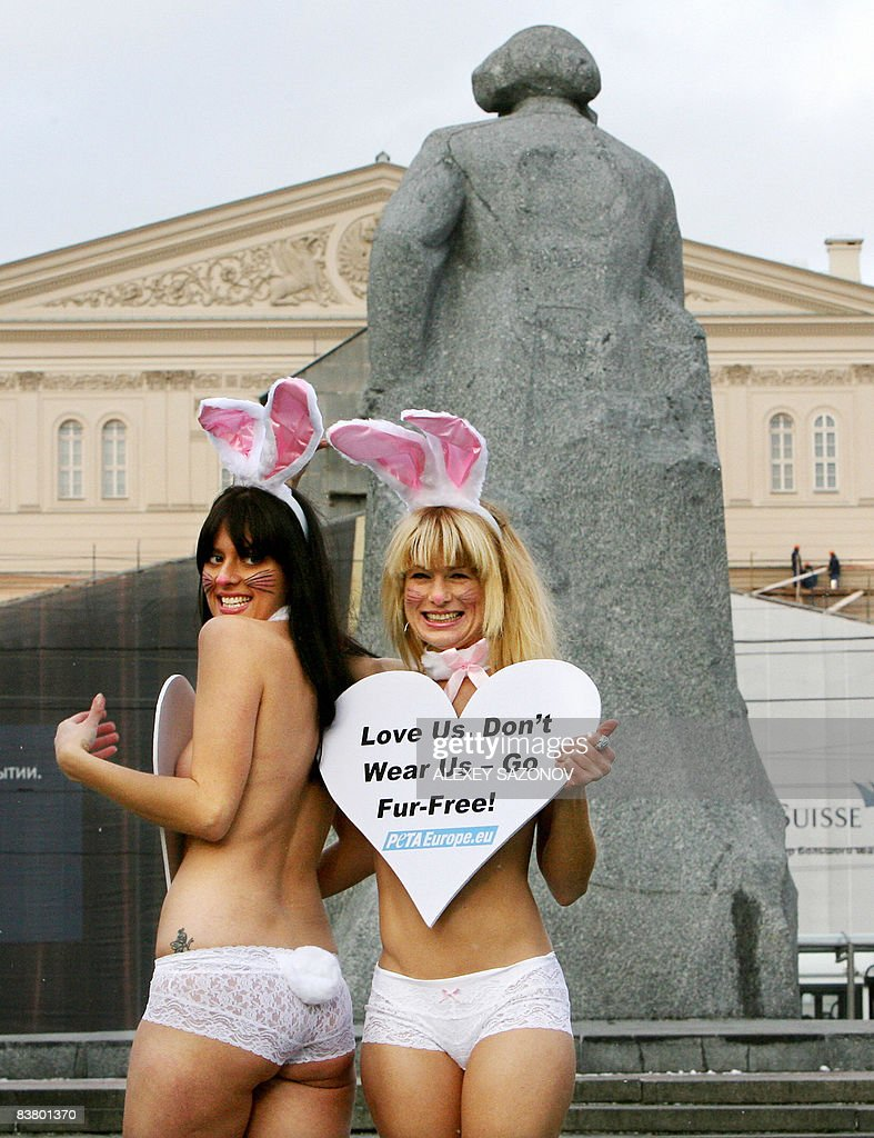 Lisa Franzetta and Lauren Bowey of the organization People for the Ethical Treatment of Animals wearing only underwear and bunny ears protest against...