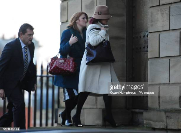 Lisa French who was a friend of PC David Rathband arrives at the Moot Hall in Newcastle at the start of an inquest into his death