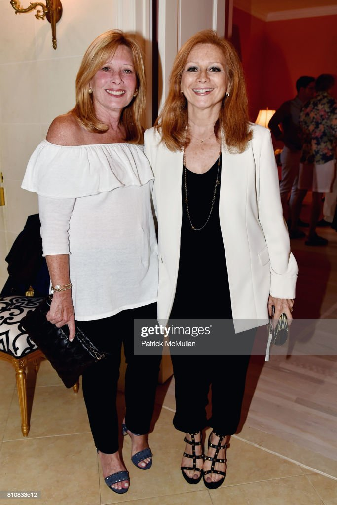 Lisa Fuld and Kathy Kaye attend Katrina and Don Peebles Host NY Mission Society Summer Cocktails at Private Residence on July 7, 2017 in Bridgehampton, New York.