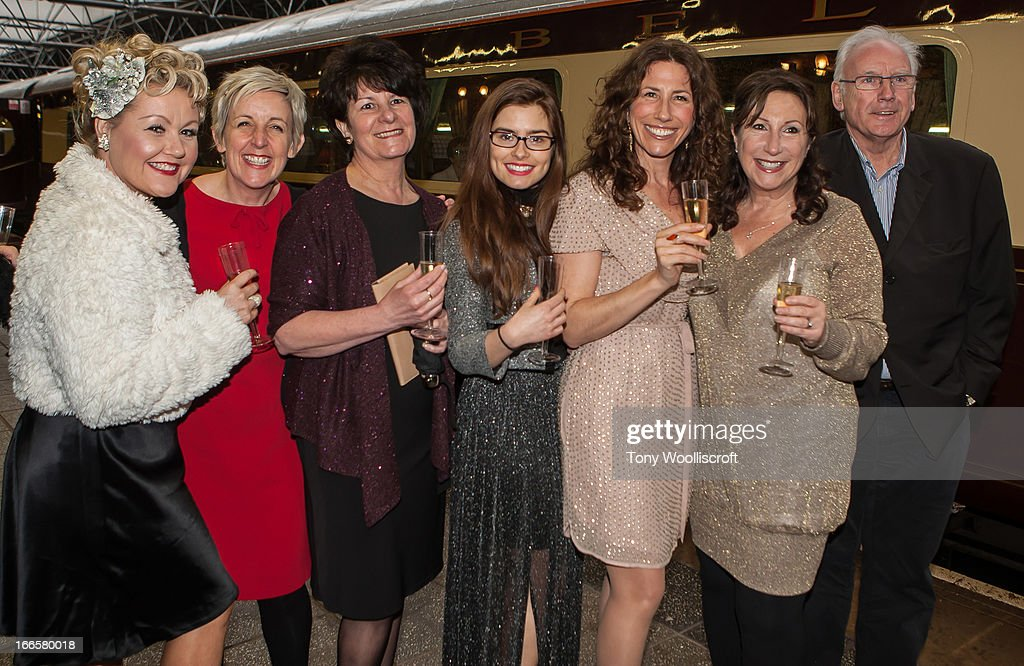 Lisa George, Julie Hesmondhalgh, Rachel Shenton, , Gaynor Faye and Kay Mellor and Peter Waterman attends as The northern Belle makes a fundraising trip in aid of the 'When You Wish Upon a Star' charity on April 13, 2013 in Manchester, England.