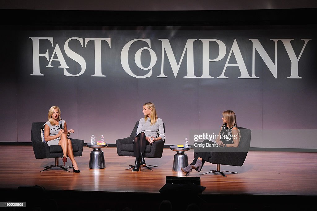 Lisa Gersh, Gwyneth Paltrow and Katie Couric speak onstage during 'The Business Of Goop With Gwyneth Paltrow And Lisa Gersh, CEO Of Goop, Moderated By Yahoo's Katie Couric' at The Fast Company Innovation Festival on November 10, 2015 in New York City.