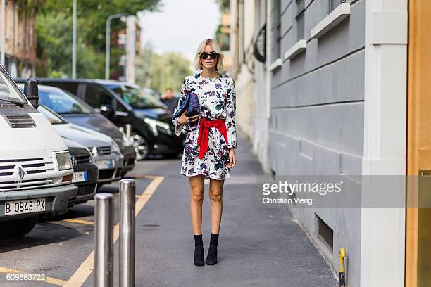 Lisa Hahnbeuck wearing Silk Dress Flower Print Ganni Cashmere Knit Anine Bing Mango shoes sunglasses Givenchy bag GO14 Denim Louis Vuitton outside...