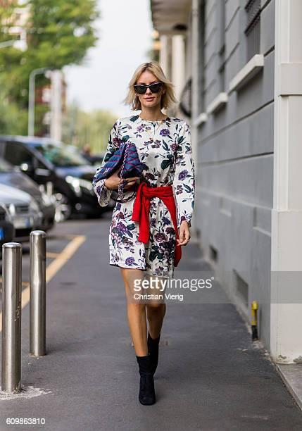 Lisa Hahnbeuck wearing Silk Dress Flower Print Ganni Cashmere Knit Anine Bing Mango shoes sunglasses Givenchy bag GO14 Denim Louis Vuitton outside...
