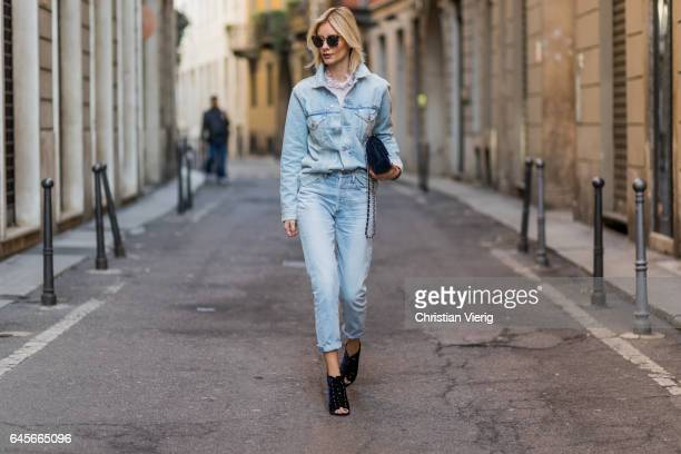 Lisa Hahnbueck wearing Citizens of Humanity Denim Boyfriend Jacket Jasper Citizens of Humanity Liya High Rise jeans Giambattista Valli Silk top with...
