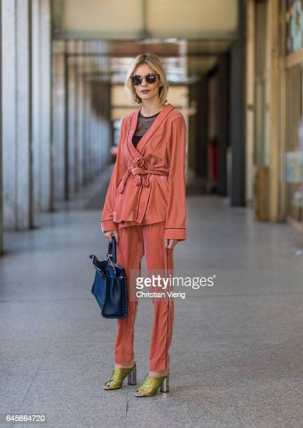 Lisa Hahnbueck wearing Designers Remix Velvet Pyjama Kimono and Pants Topshop High Heels Intimissimi Netshirt Fendi Peekaboo bag Prada Sunglasses...