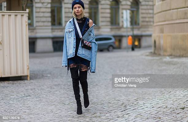 Lisa Hahnbueck wearing Off White Printed Denim Jacket Men Section SelfPortrait Embroidered Dress with Lacing Over knee Boots Stuart Weitzman Style...