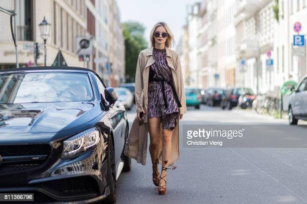 Lisa Hahnbueck wearing Strenesse maxi trench coat Louis Vuitton Sparkle dress RTW SS16 Aquazurra x Poppy Delevigne high heels Louis Vuitton Iphone...