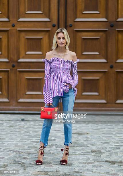 Lisa Hahnbueck wearing Victoria Beckham Striped OfftheShoulder Blouse Frame Patchwork Straight Cropped Jeans Aquazzura Wild Russian Fur Heels Dior...