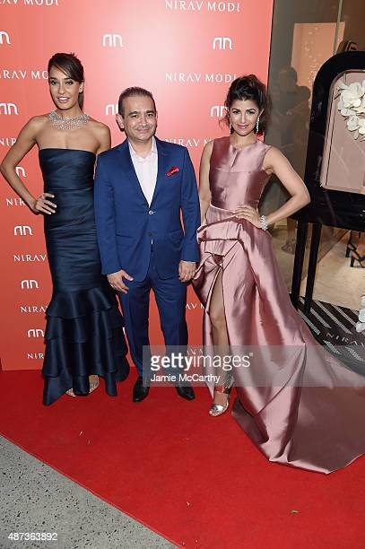 Lisa Haydon Nirav Modi and Nimrat Kaur attend the Nirav Modi US Boutique grand opening at Nirav Modi Boutique on September 8 2015 in New York City
