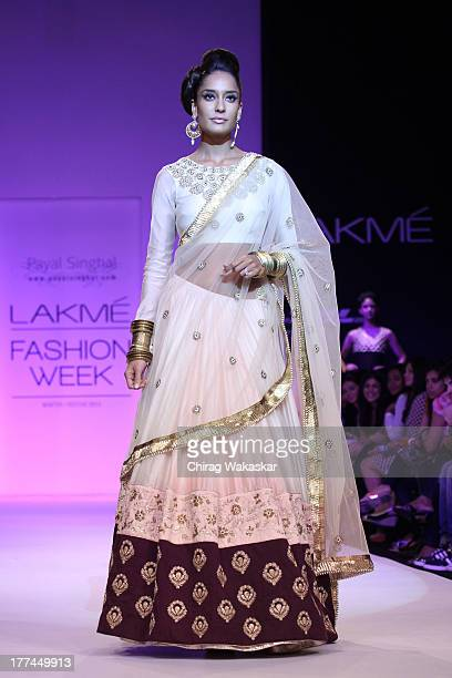 Lisa Haydon showcases designs by Payal Singhal during day 1 of Lakme Fashion Week Winter/Festive 2013 at the Hotel Grand Hyatt on August 23 2013 in...