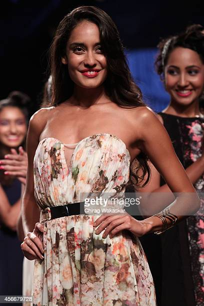 Lisa Haydon walks the runway during day 3 of Myntra Fashion Weekend 2014 at The Palladium Hotel on October 5 2014 in Mumbai India
