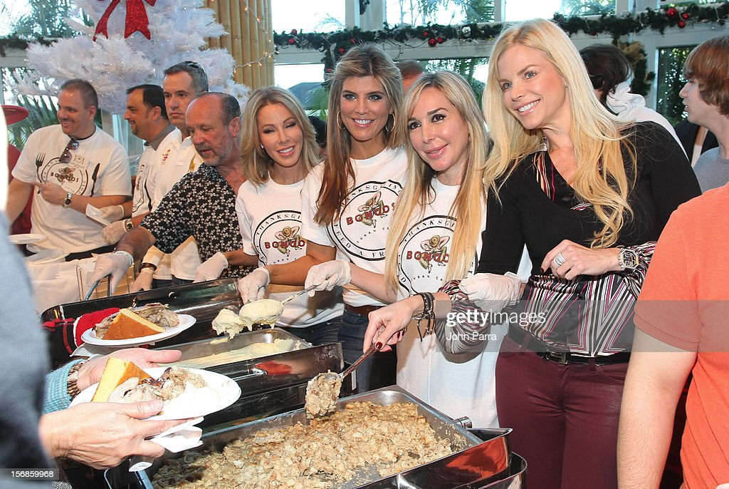 Lisa Hochstein, Ana Quincoces, Marisol Patton and Alexia Echevarria participate in 5th Annual Thanksgiving Feed A Friend at Bongos on November 22, 2012 in Miami, Florida.