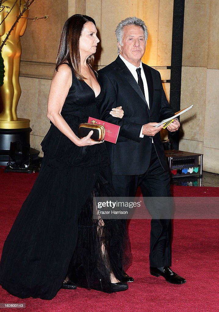 Lisa Hoffman and Dustin Hoffman depart the Oscars at Hollywood & Highland Center on February 24, 2013 in Hollywood, California.