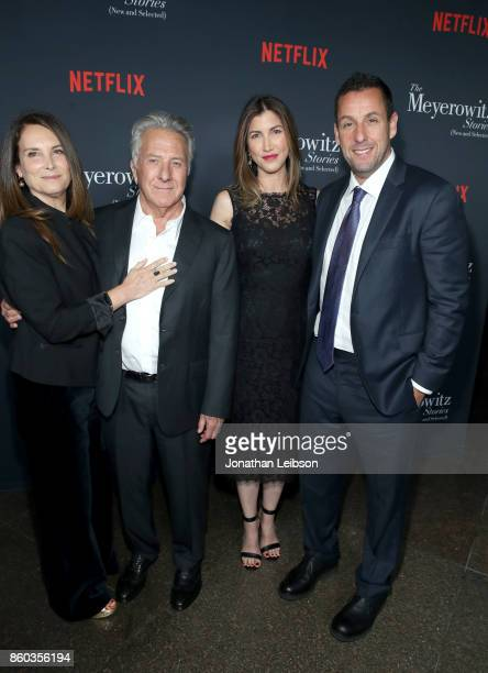 Lisa Hoffman Dustin Hoffman Jackie Sandler and Adam Sandler at a special screening of The Meyerowitz Stories at DGA Theater on October 11 2017 in Los...