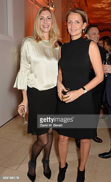 Lisa Hogan and Saffron Aldridge attend the Sybarite Jewellery dinner hosted by Elena Perminova at The Kensington Palace Orangery on November 18 2014...