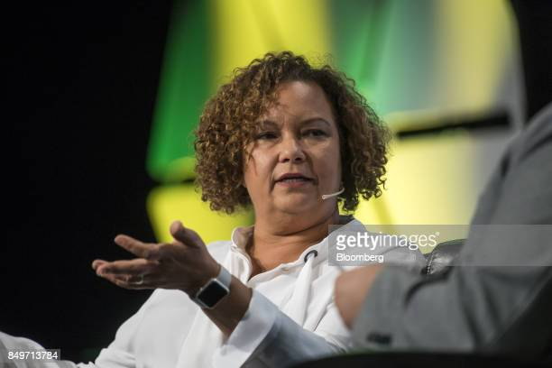 Lisa Jackson senior vice president of environment policy and social initiatives at Apple Inc speaks during the TechCrunch Disrupt 2017 in San...