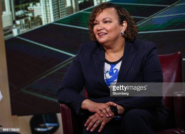 Lisa Jackson vice president of environment policy and social initiatives for Apple Inc smiles during a Bloomberg Television interview in New York US...