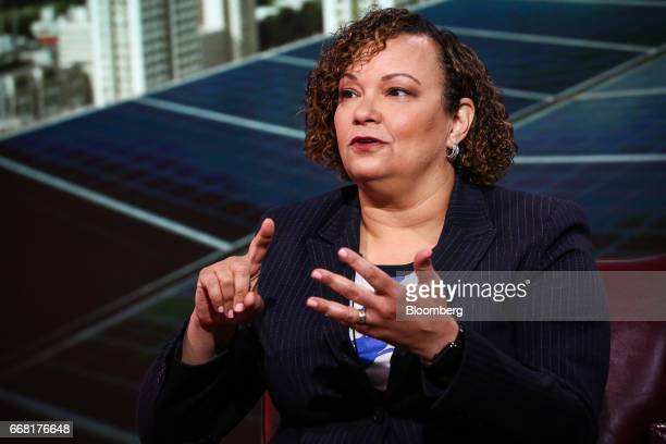Lisa Jackson vice president of environment policy and social initiatives for Apple Inc speaks during a Bloomberg Television interview in New York US...
