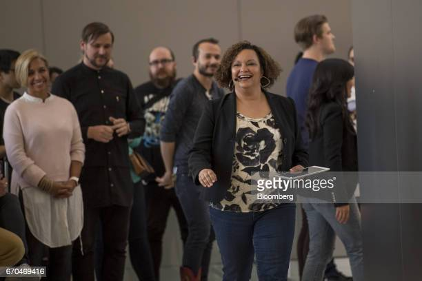 Lisa Jackson vice president of environment policy and social initiatives for Apple Inc arrives at an event in San Francisco California US on...
